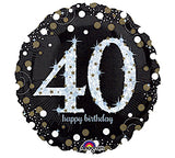 "18"" Happy Birthday 40th Sparkling"