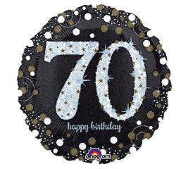"18"" Happy Birthday 70th Sparkling"
