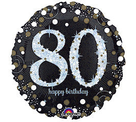 "18"" Happy Birthday 80th Sparkling"