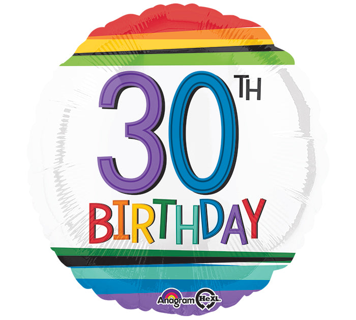 "18"" Happy 30th Birthday Rainbow"
