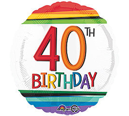 "18"" Happy 40th Birthday Rainbow"