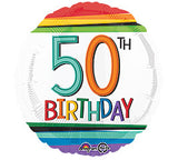 "18"" Happy 50th Birthday Rainbow"