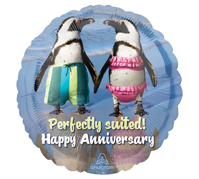 "18"" Happy Anniversary Penguins"