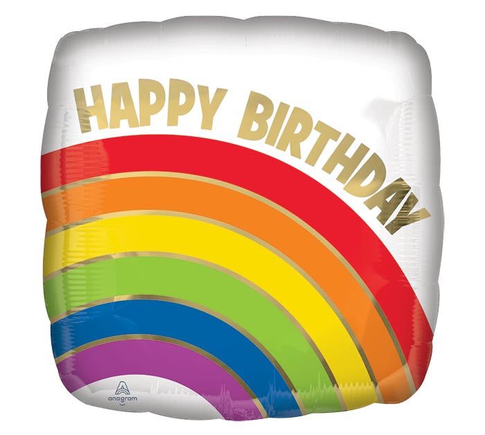 "17"" Happy Birthday Gold Rainbow"