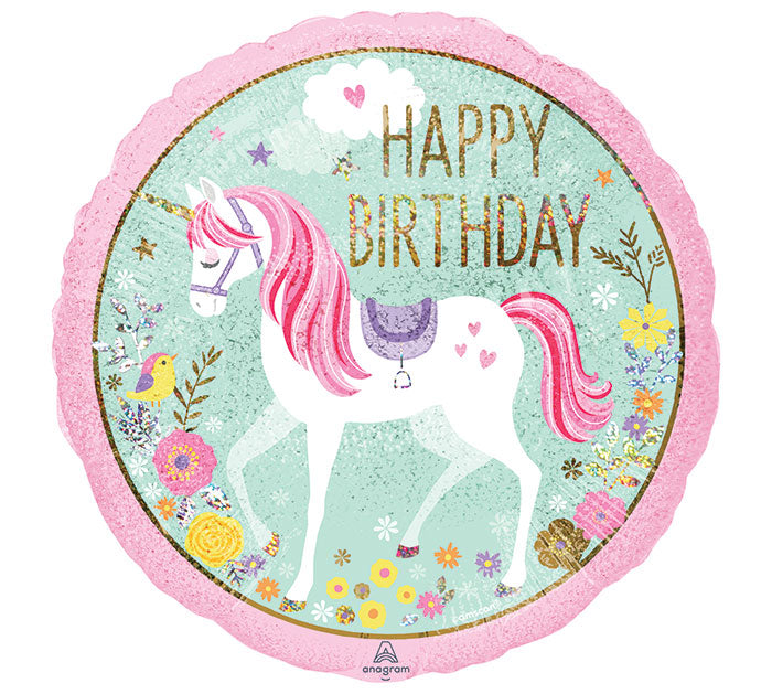 "18"" Happy Birthday Magical Unicorn (2-sided)"