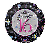 "18"" Happy Sweet 16 Birthday (black)"