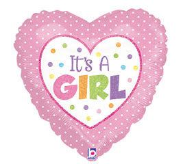 "18"" Holographic It's a Girl! Heart"