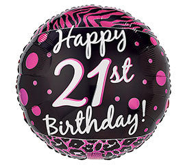 "18"" 21st Birthday Pink and Black"