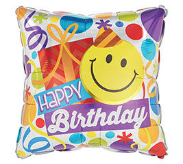 "18"" Happy Birthday Smiling Face (SQ)"