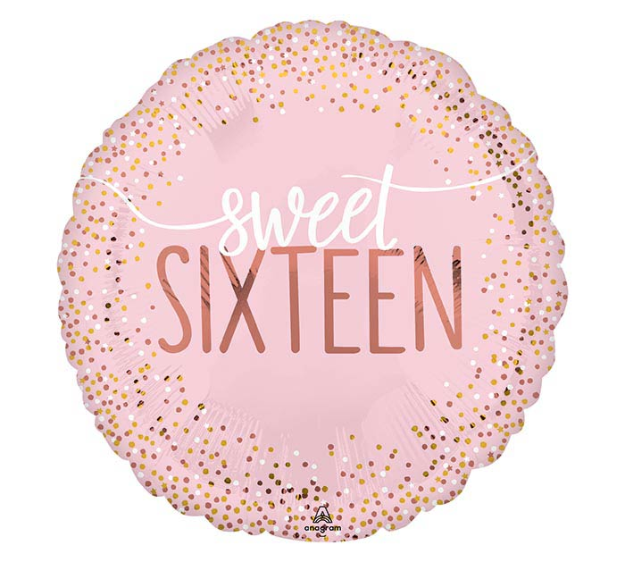 "18"" Happy Birthday Sweet 16 Blush"
