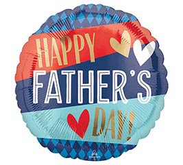 "18"" Happy Father's Day Red & Blue Hearts"