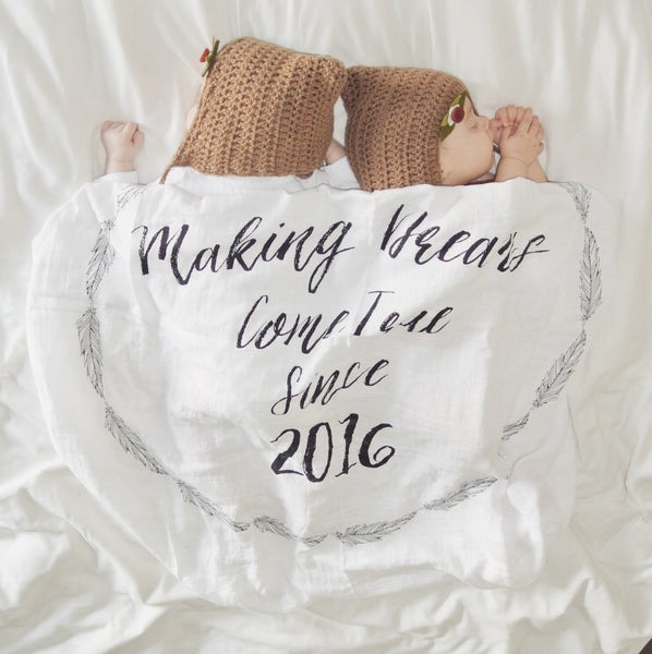 """Making Dreams Come True Since 2016"" Keepsake Muslin Swaddle"