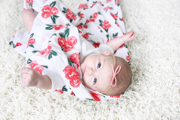 Watercolour Rose Muslin Swaddle