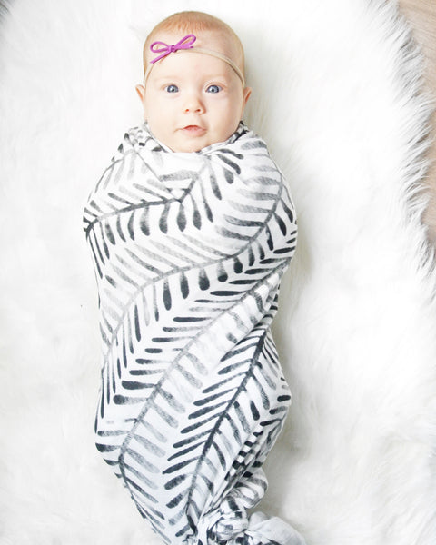 The Painted Herringbone Muslin Swaddle
