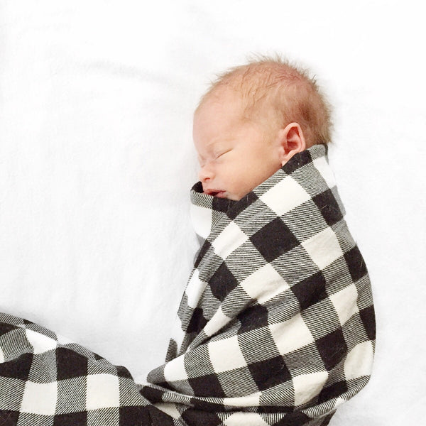 Monochrome Buffalo Plaid Flannel Swaddle