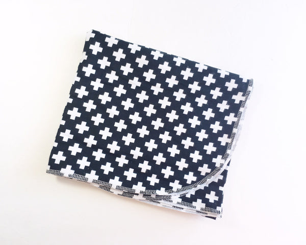 Monochrome Swiss Cross Flannel Swaddle