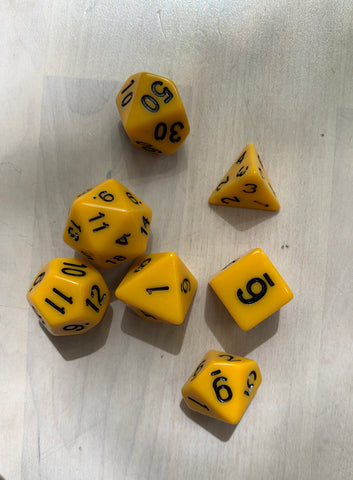 RPG Dice: Opaque Yellow/Black