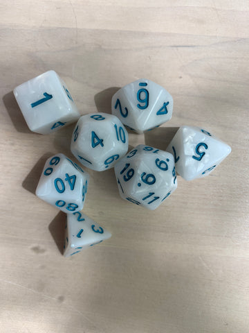 RPG Dice: Pearl White/Blue