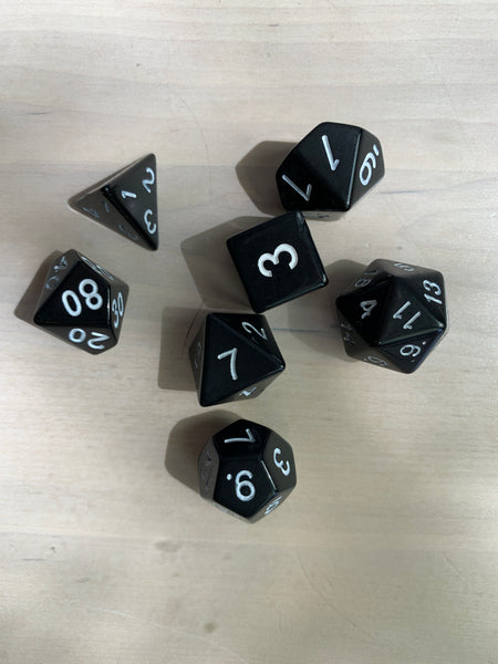 RPG Dice: Opaque Black/White