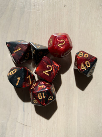 RPG Dice: Double Color Red & Black/Gold