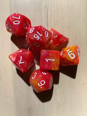 RPG Dice: Double Color Pink & Orange/White