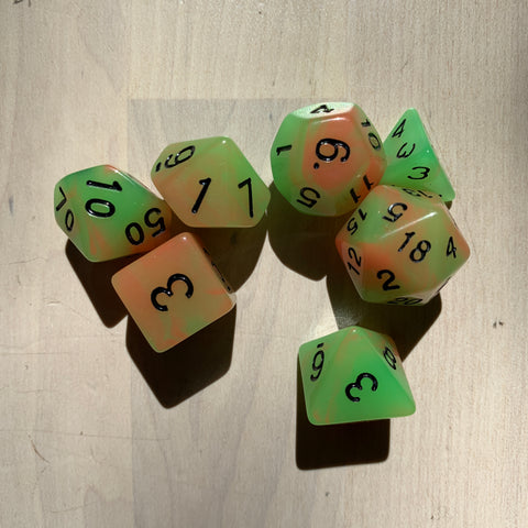 RPG Dice: Double Color Orange & Green/Black (Glow in the Dark)