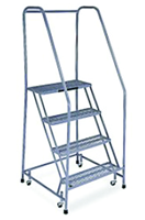 Cotterman Model 1000; 4 Steps; 30 x 31'' Base Size - Steel Mobile Platform Ladder - D&T Industrial Supply