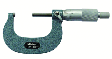 Mitutoyo 1 - 2'' Measuring Range - .0001 Graduation - Ratchet Thimble - Carbide Face - Outside Micrometer - D&T Industrial Supply