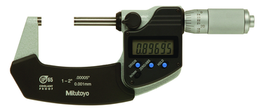 "Mitutoyo Digimatic Micrometer - 1-2"" No Output IP65 Ratchet Inch/Metric - D&T Industrial Supply"