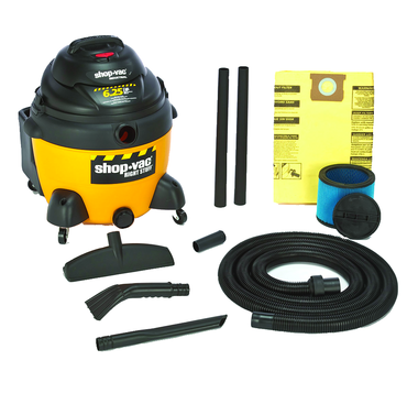 "Shop-Vac Model #9625210 - 16 Gallon 6.0 HP with 1.5"" x 12' hose; (2) 1.5"" wands; new 14"" floor nozzle; blow molded crevice; and claw nozzle - D&T Industrial Supply"
