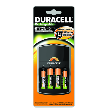 Duracell CEF15 Charger;Charges in 15-95 min;Includes 4 AA NiMH Cells - D&T Industrial Supply