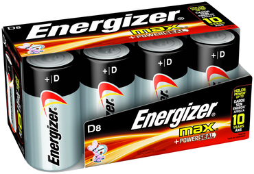 Energizer D Max Alkaline Battery 8 Pack - D&T Industrial Supply