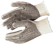 Memphis White/Black Cotton/Poly Blend 9668 Strings Gloves - Size Large - D&T Industrial Supply