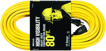 Woods 80' Ext. Cord Extra HD 1-Outlet- Neon High Visibility - D&T Industrial Supply