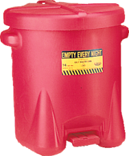 Eagle #935FL --10 Gallon Poly Oily Waste Can -- Self closing lid with foot lever -- Red HDPE - D&T Industrial Supply