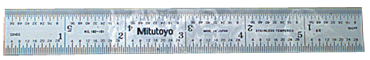 Mitutoyo #182-101 - 6'' Long - 4R Graduation - 3/4'' Wide - Satin Chrome Finish Rigid Steel Rule - D&T Industrial Supply