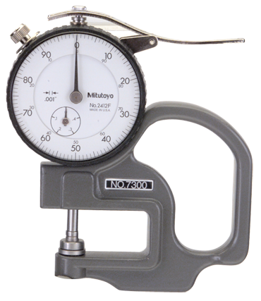 Mitutoyo #7301 - 0 - 10mm Range - .01mm Graduation - 25mm Throat Depth - Dial Thickness Gage - D&T Industrial Supply