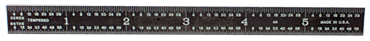 PEC Tools #402-006EZ - 6'' Long - 4R Graduation - 3/4'' Wide - E-Z Read Black Chrome Rigid Scale - D&T Industrial Supply
