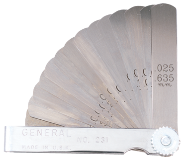 "General #230 - 26 Leaf - .002 to .025"" (.051 to .635mm) Range - Thickness Gage - D&T Industrial Supply"