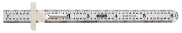General #308 - 6'' Long - 32nds; 64ths/Decimal Graduation - 3/4'' Wide - Stainless Steel Flexible Rle - D&T Industrial Supply