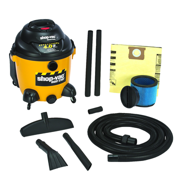 "Shop-Vac Model #9625010 - 10 Gallon 4.0 HP with 1.5"" x 12' hose; (2) 1.5"" wands; new 14"" floor nozzle; blow molded crevice; and claw nozzle - D&T Industrial Supply"
