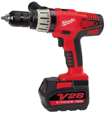 "Milwaukee #0724-24 - 28V-Lithion Ion - 1/2"" Chuck Size - 0 - 600 / 0 - 1800 RPM - Cordless Drill Driver Kit - D&T Industrial Supply"