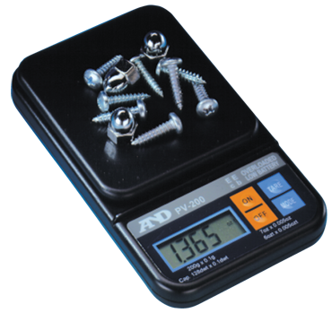 AND #PV200 - 7 oz x .005 oz (200g x .1g) Capacity - Pocket Scale - D&T Industrial Supply