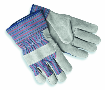 "Memphis Blue/Red Stripes Split Cow 2-1/2"" Gauntlet Gloves - Size Large - D&T Industrial Supply"