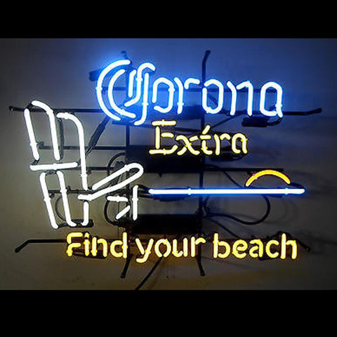 Corona Extra Beer Find Your Beach Chair Sunset Water Palm Tree