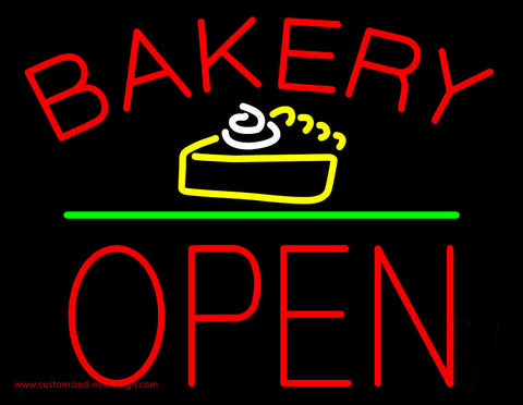 Bakery Logo Block Open Green Line Neon Sign