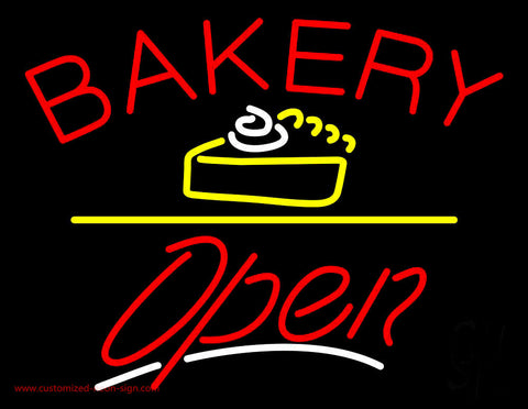 Bakery Logo Open Yellow Line Neon Sign