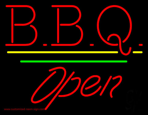 BBQ Open White Line Neon Sign