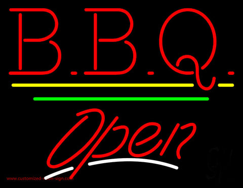 BBQ Open Yellow Line Neon Sign
