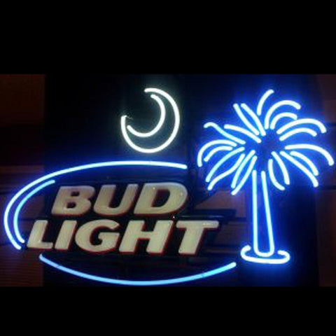 Original Bud Light South Carolina Palmetto Tree Moon Neon Beer